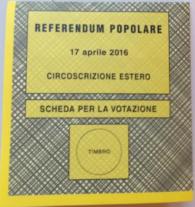 Ballot for an Italian referendum held in April, 2016