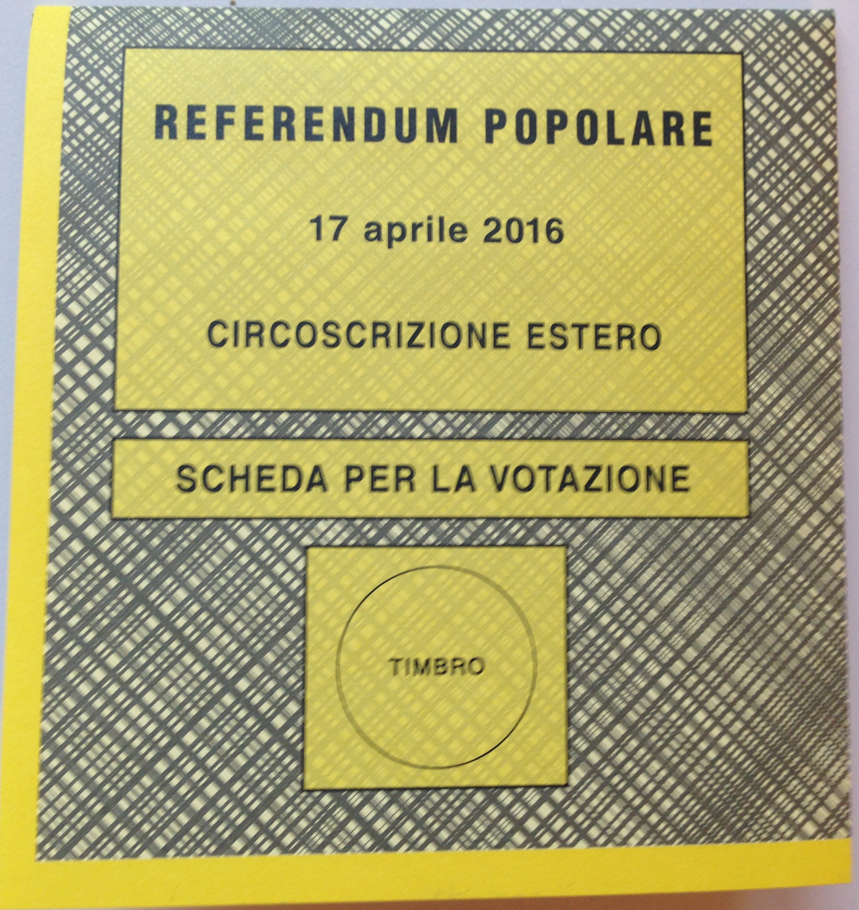 Ballot for an Italian referendum held in April, 2016