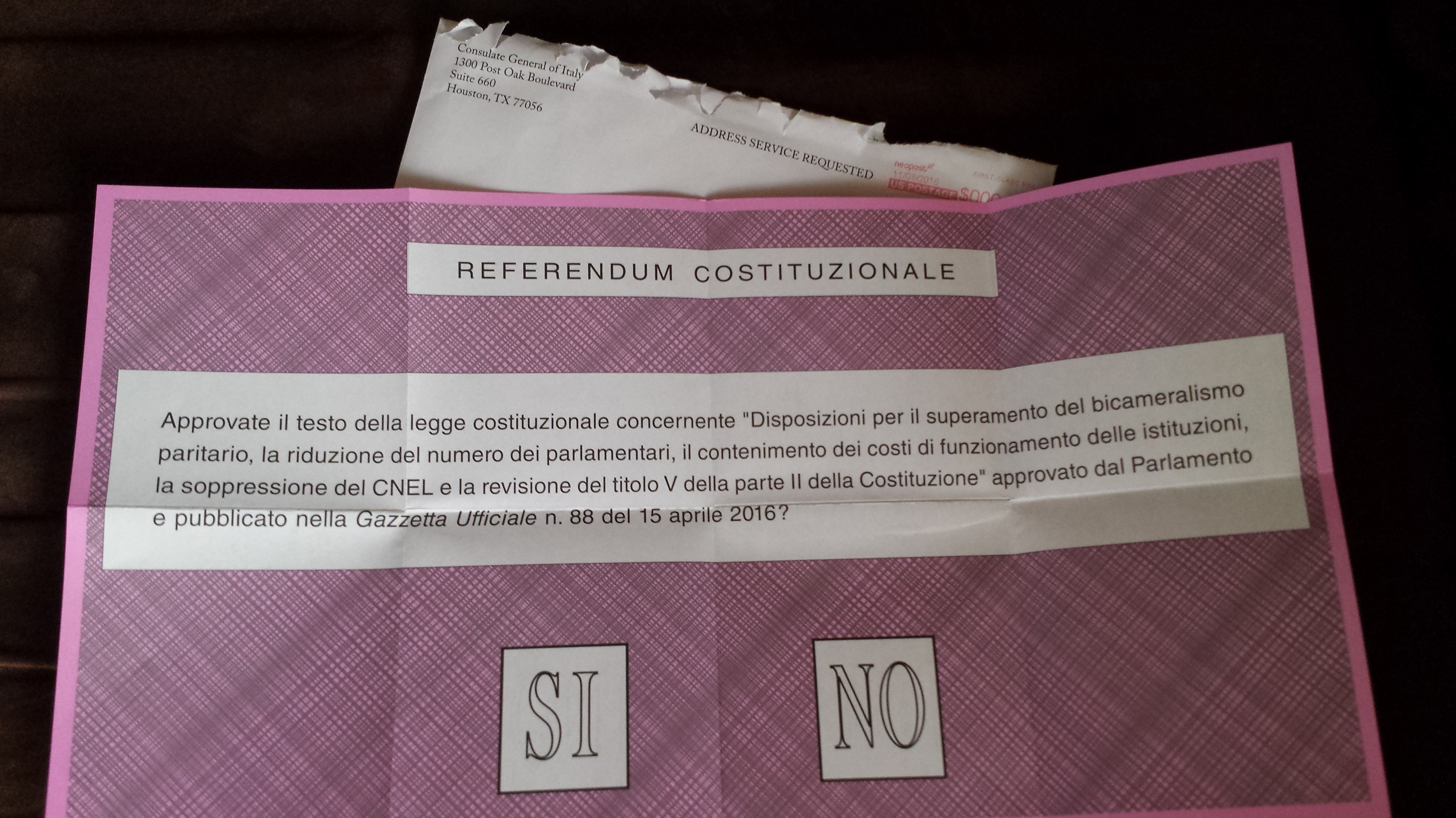 My ballot for the Italian Constitutional Referendum, before I marked it and sent it in.