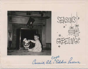 Old Christmas card with a photo of Capt. Eddie as a toddler.