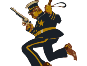 Policeman in action